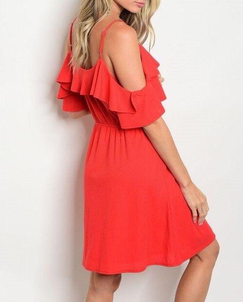Shoptiques Ribbed Cold Shoulder Dress