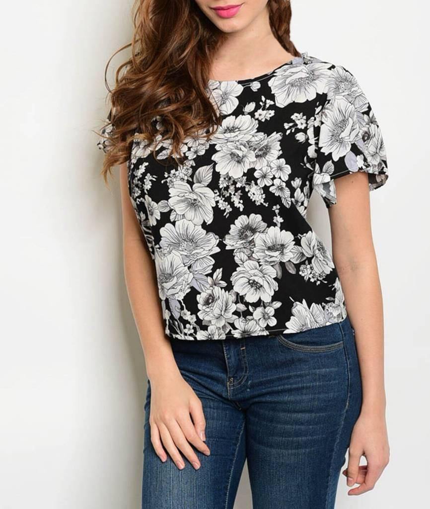 Shoptiques Monochrome Floral Blouse