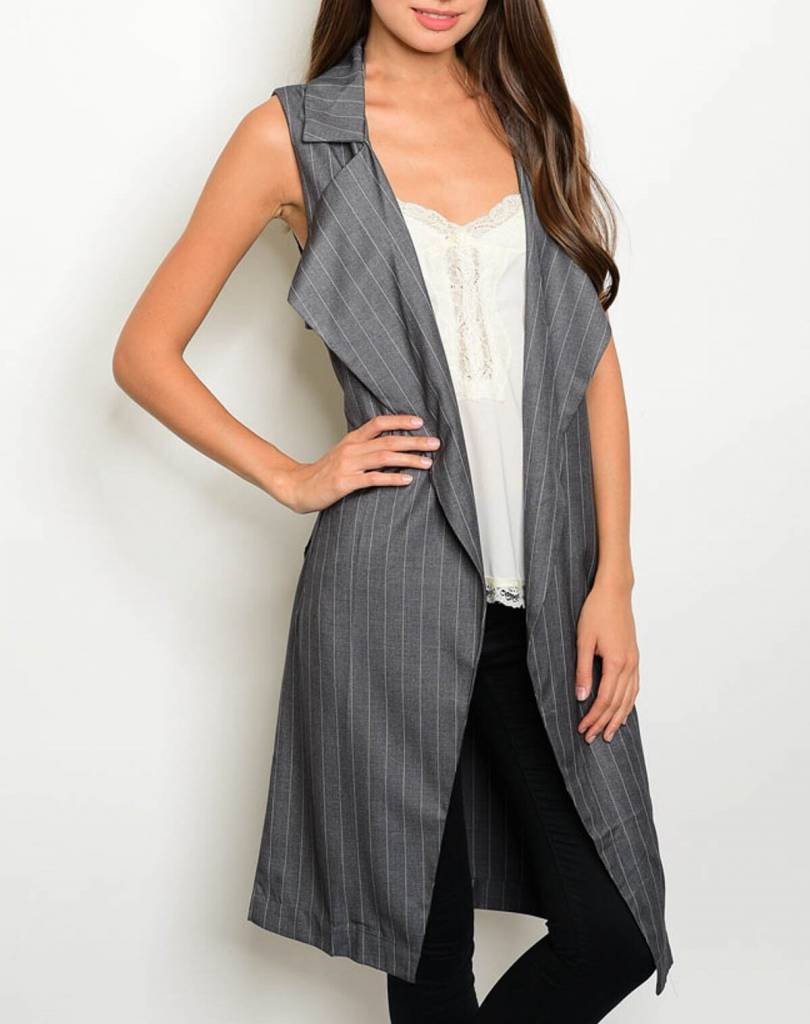 Shoptiques Pinstripe Belted Vest