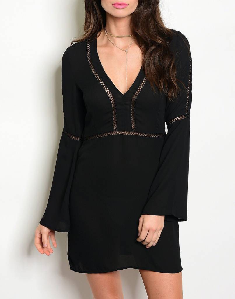 Shoptiques Flare Sleeve Cutout Dress