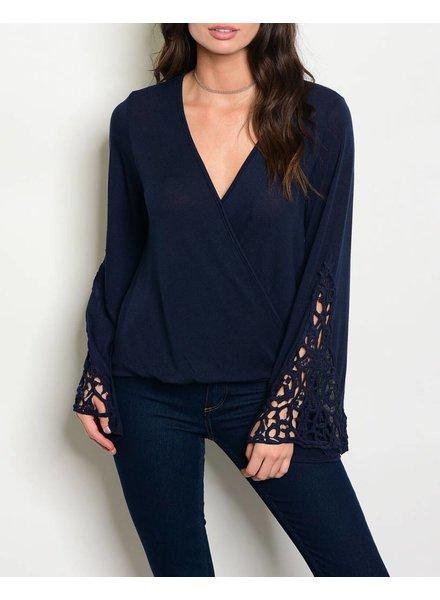 Shoptiques Crochet Sleeve Blouse