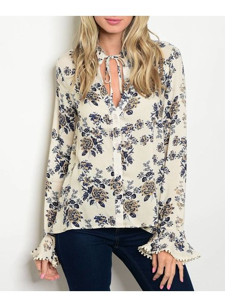 Shoptiques Bell Sleeve Floral Blouse