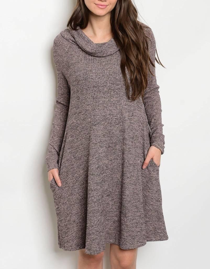 Shoptiques Marled Cowl Neck Dress