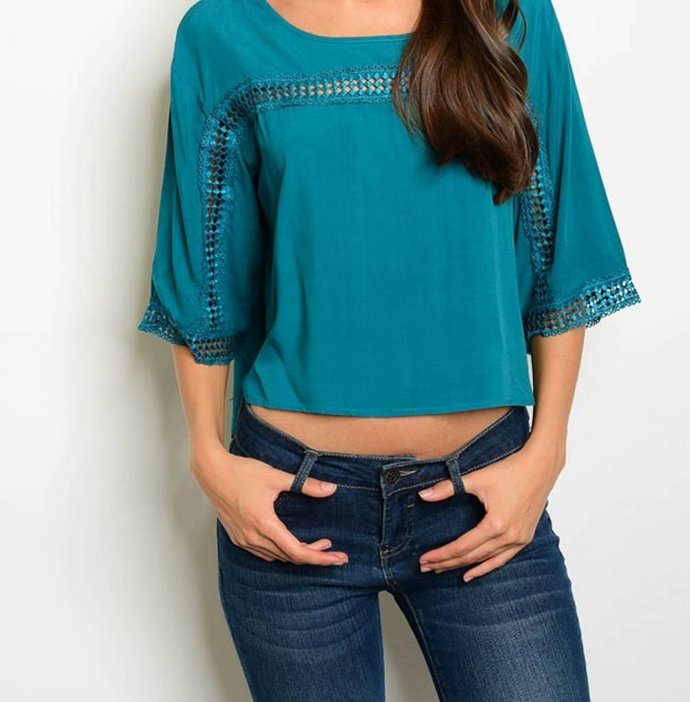 Shoptiques Crochet Kimono Sleeve Top