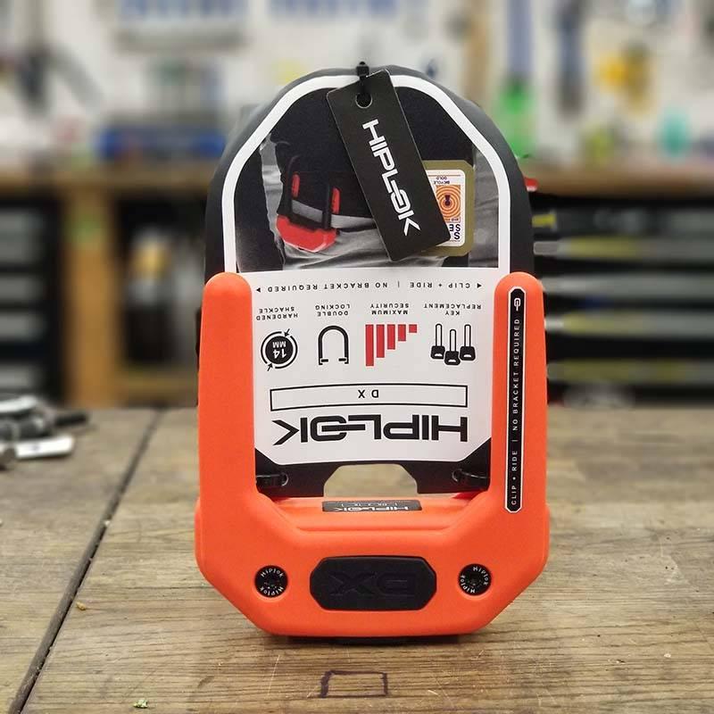Hiplok DX Wearable Hardened Steel Shackle U-Lock: 14mm, Orange
