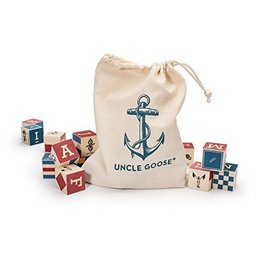 Uncle Goose Nautical ABC Blocks with Bag