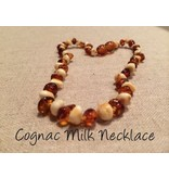 BE Amber Necklace - Screw Cognac & Milk Polished 10-11 inch