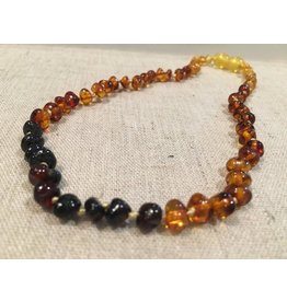 BE Amber Necklace - Screw Rainbow Dark Front Polished 10-11 inch