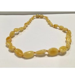 Baltic Essentials BE Amber Necklace - Screw Milk Bean Polished 10-11 inch