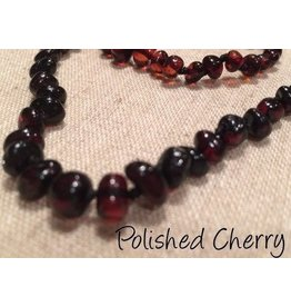 BE Amber Necklace - Screw Cherry Round Polished 10-11 inch