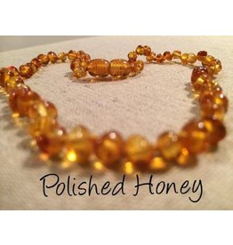 BE Amber Necklace - Screw Honey Round Polished 10-11 inch