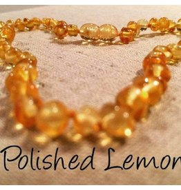 Baltic Essentials BE Amber Necklace - Screw Lemon Round Polished 10-11 inch