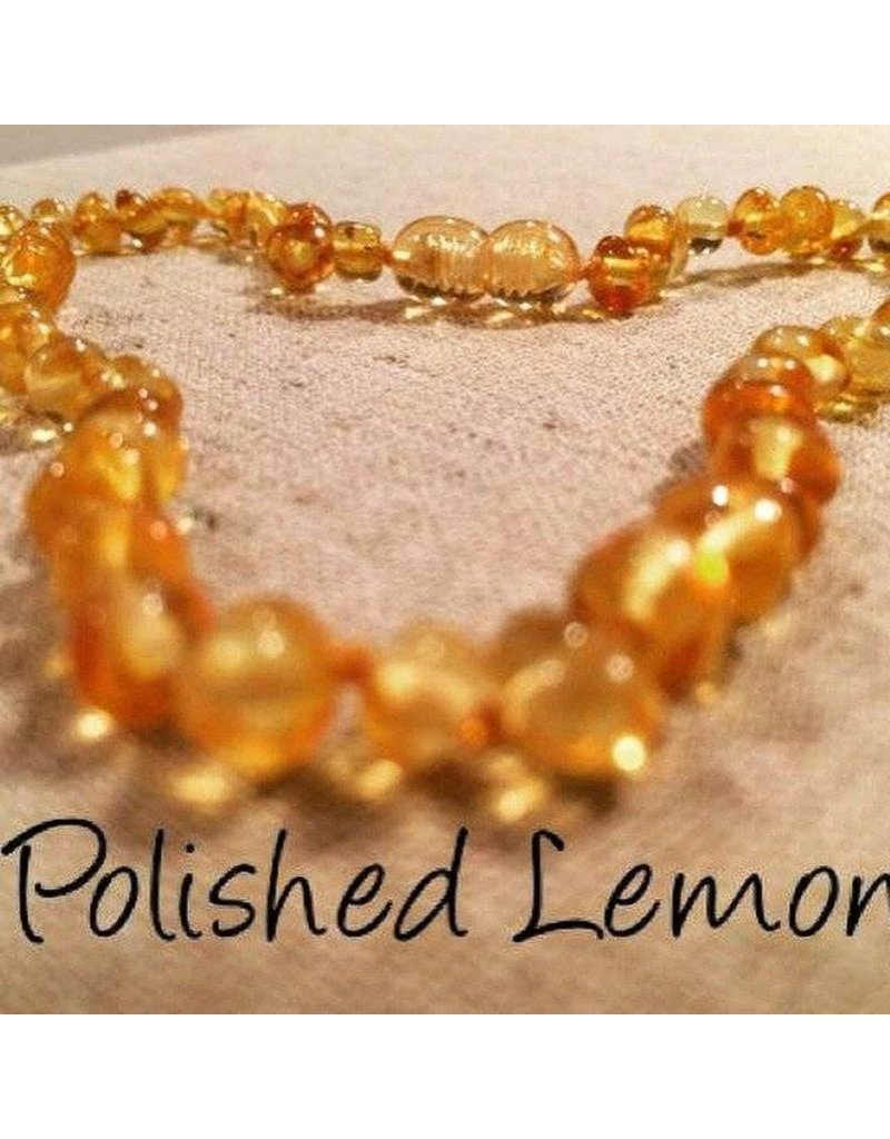 BE Amber Necklace - Screw Lemon Round Polished 10-11 inch