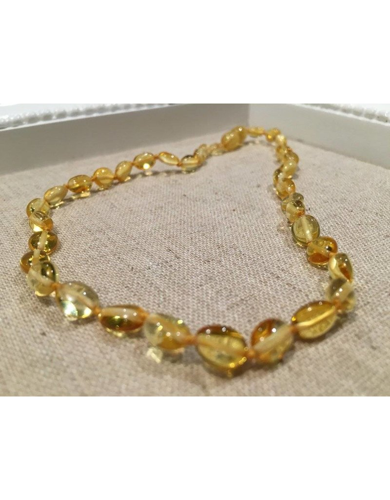 BE Amber Necklace - Screw Lemon Bean Polished 10-11 inch
