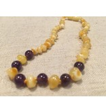 Baltic Essentials BE Gemstone Amber Milk Amethyst Front Polished 10-11 Screw