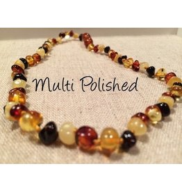 Baltic Essentials BE Amber Necklace - Screw Multi Round Polished 10-11 inch