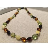 BE Amber Necklace - Screw Carribean Multi Polished 10-11 inch