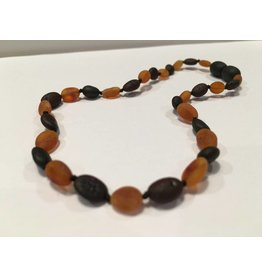 BE Amber Necklace - Screw Cognac & Cherry Bean Raw 10-11 inch