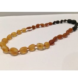 BE Amber Necklace - Screw Rainbow Light Front Bean Raw 10-11 inch