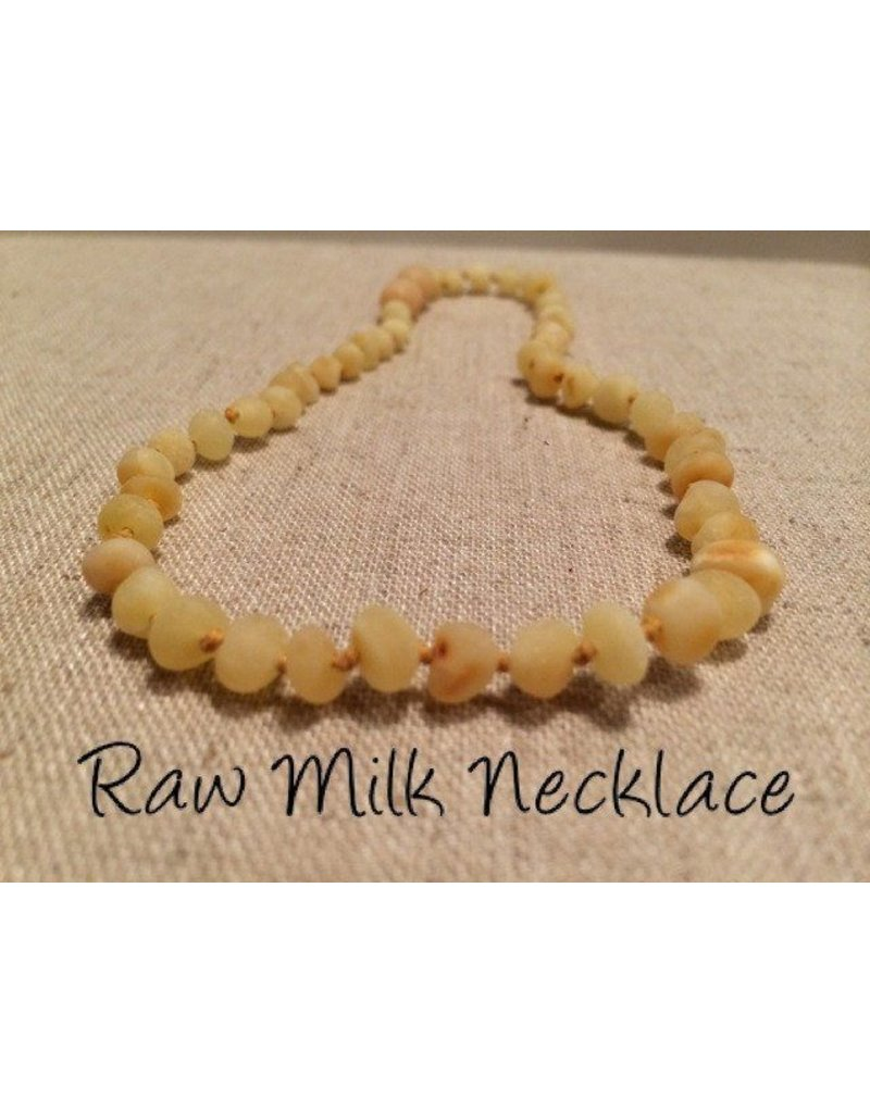 BE Amber Necklace - Screw Milk Round Raw 10-11 inch