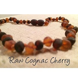 BE Amber Necklace - Screw Cognac & Cherry Round Raw 10-11 inch