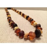 BE Amber Necklace - Screw Multi Round Raw 10-11 inch