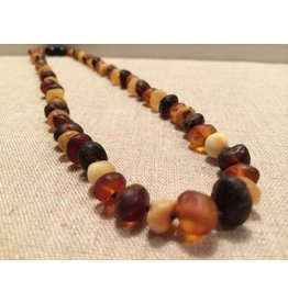 BE Amber Necklace - POP Multi Round Raw 10-11