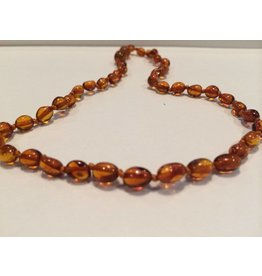 BE Amber Necklace - POP Cognac Bean Polished 10-11