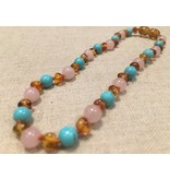 BE Gemstone Amber Rose Quartz Turquoise 10-11 Screw