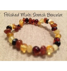 BE Amber Bracelet Polished Stretch Adult Multi Round