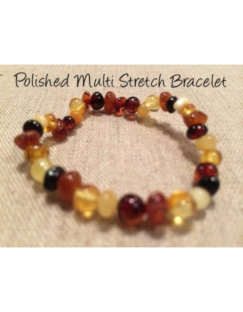 BE Amber Bracelet Polished Stretch Adult Multi Round