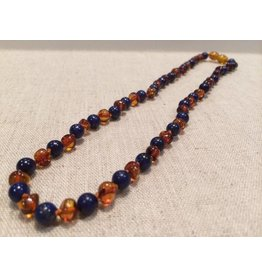 BE Gemstone Amber Lapis Cognac All Over Polished 17 in Aprox