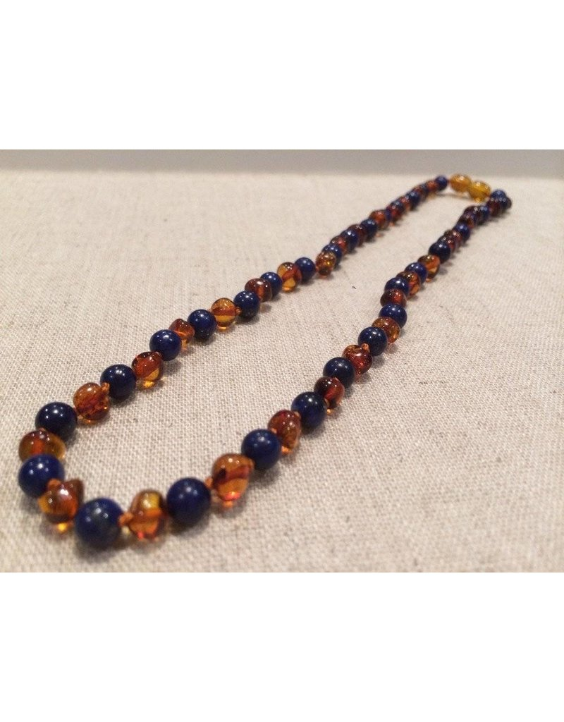 Baltic Essentials BE Gemstone Amber Lapis Cognac All Over Polished 17 in Aprox