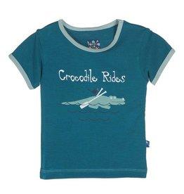 Kickee Pants KKP Short Sleeve Piece Print Tee Crocodile Rides 0-3 Months