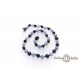 HA Amber Necklace Molasses Aquamarine Circle 20 inches