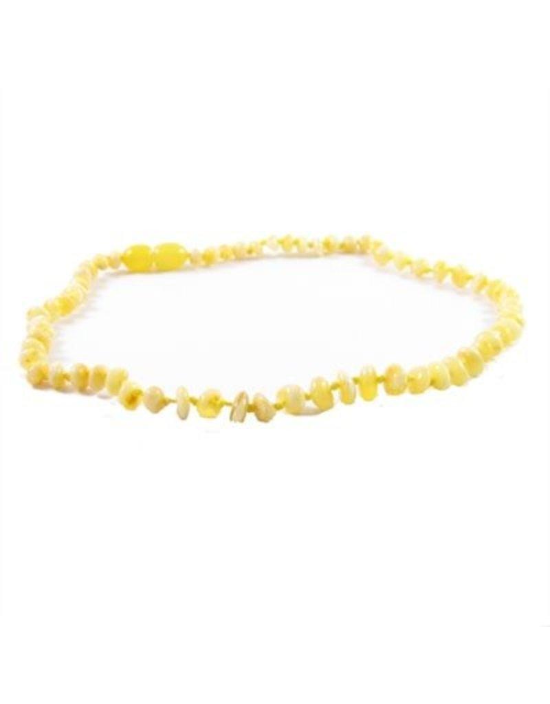 Amber Monkey Necklace Polished Baroque Milk 10-11 Inch