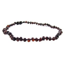 Amber Monkey Necklace Polished Baroque Chestnut 10-11 Inch