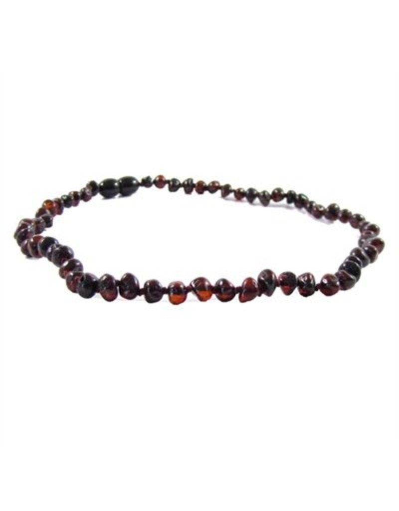 Amber Monkey Necklace Polished Baroque Chestnut 10-11 Inch