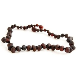 Amber Monkey Necklace Raw Baroque Chestnut 10-11 Inch