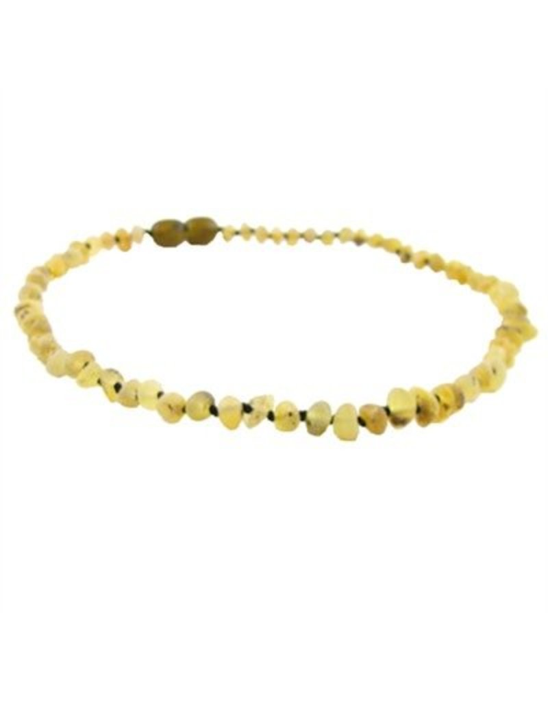 Amber Monkey Necklace Raw Baroque Pear 10-11 Inch