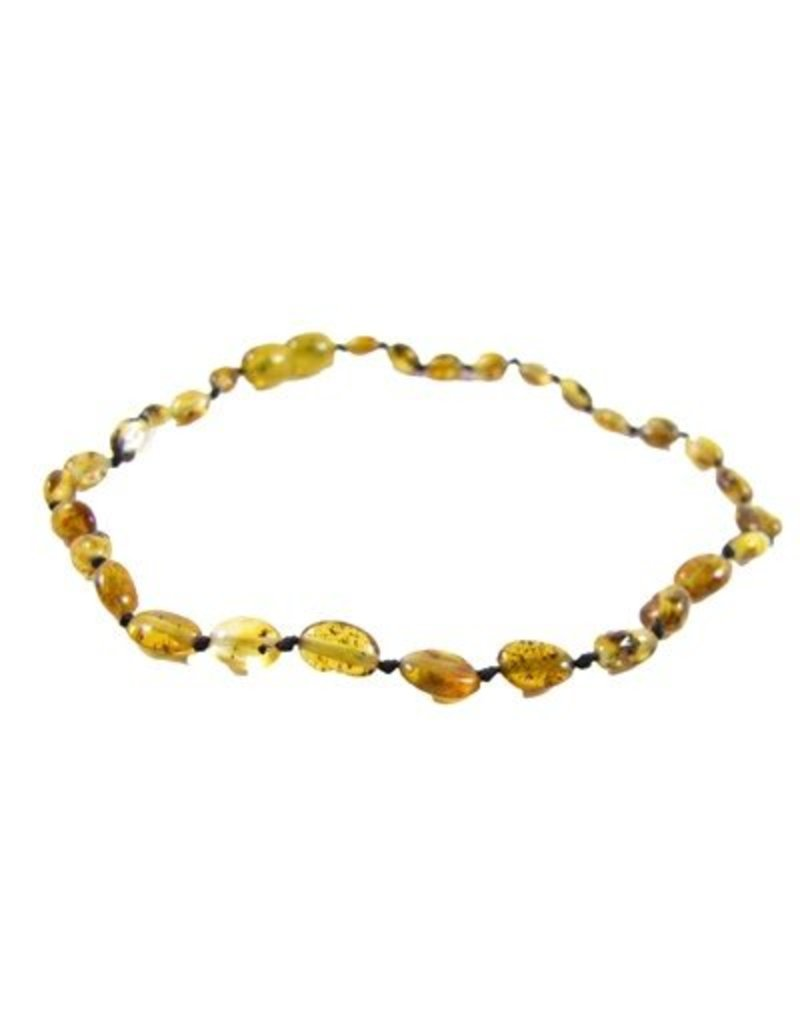 Amber Monkey Necklace Polished Pear Bean 10-11 Inch