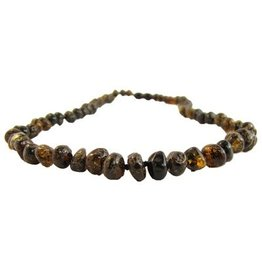 Amber Monkey Necklace Polished Baroque Olive 10-11 Inch