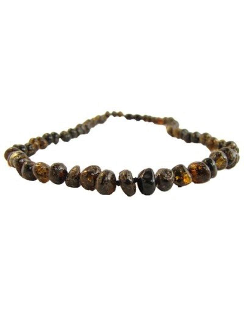 Amber Monkey Necklace Polished Baroque Olive 10-11 Inch