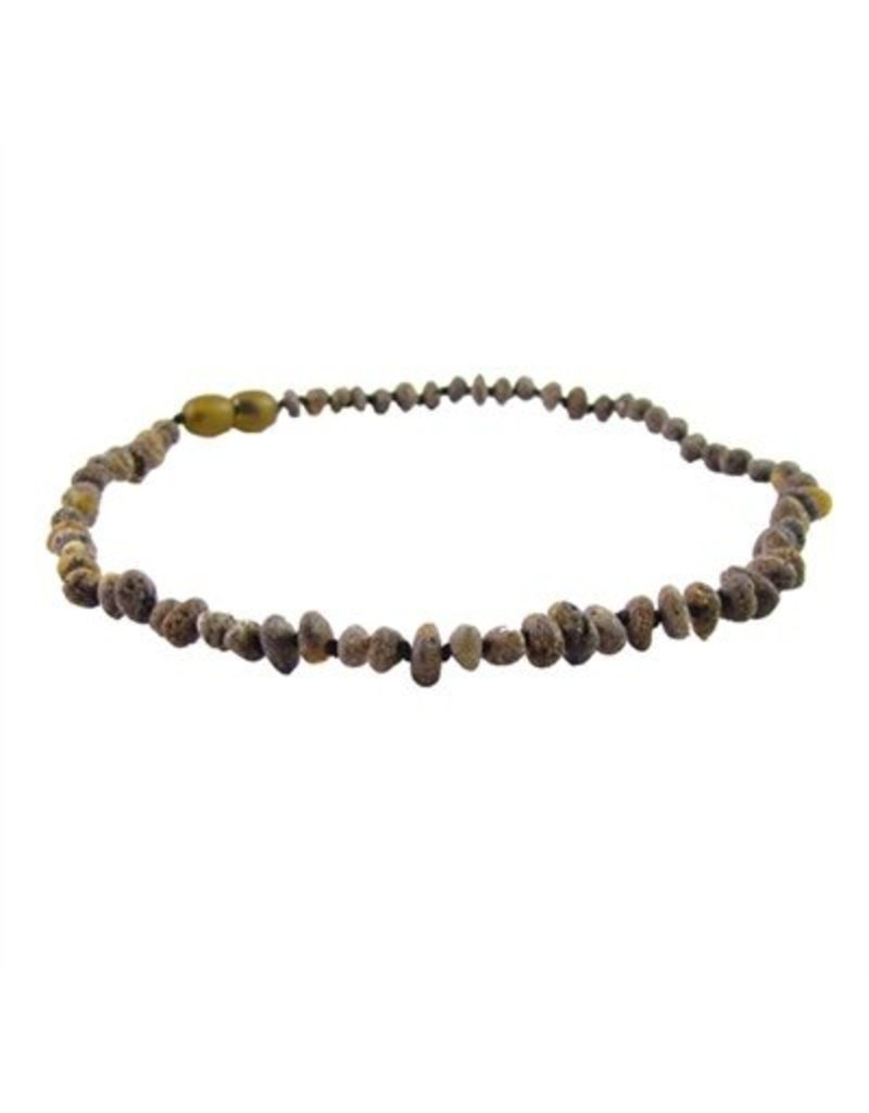 Amber Monkey Necklace Raw Baroque Olive 10-11 Inch