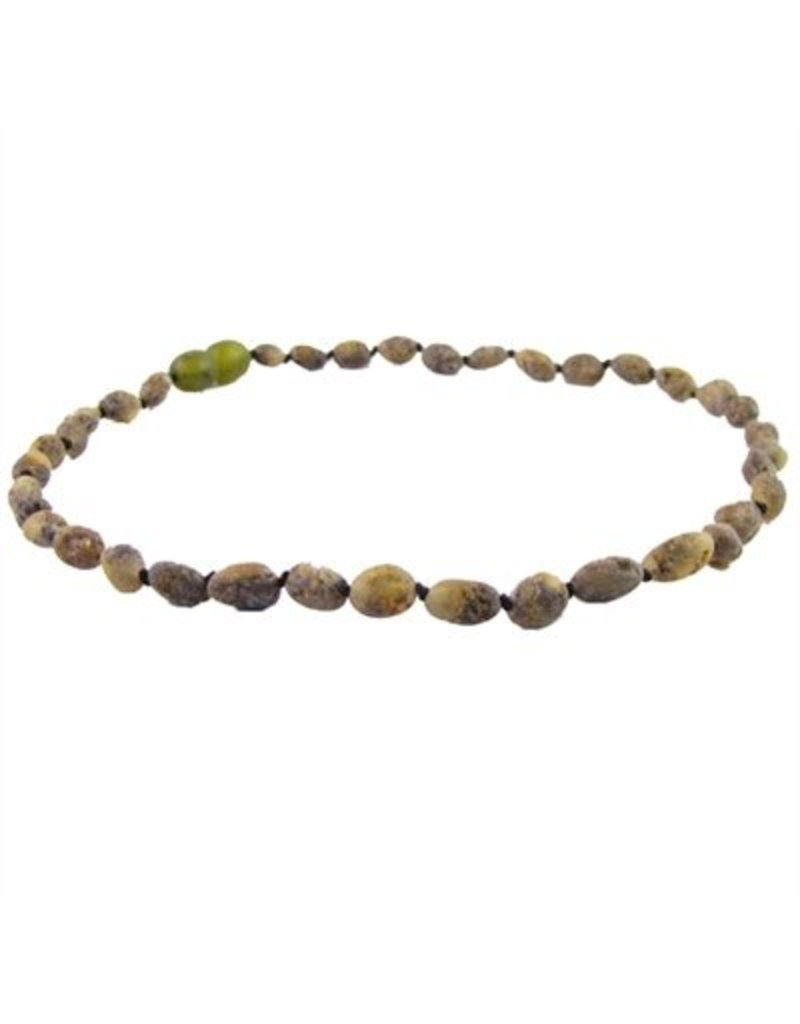 Amber Monkey Necklace Raw Olive Bean 10-11 Inch