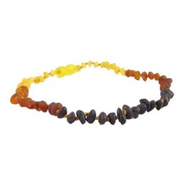 Amber Monkey Necklace Raw Baroque Rainbow 10-11 Inch