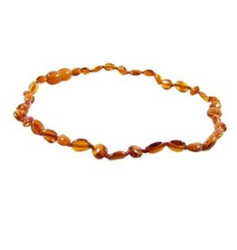 Amber Monkey Necklace Polished Cognac Bean 10-11 Inch