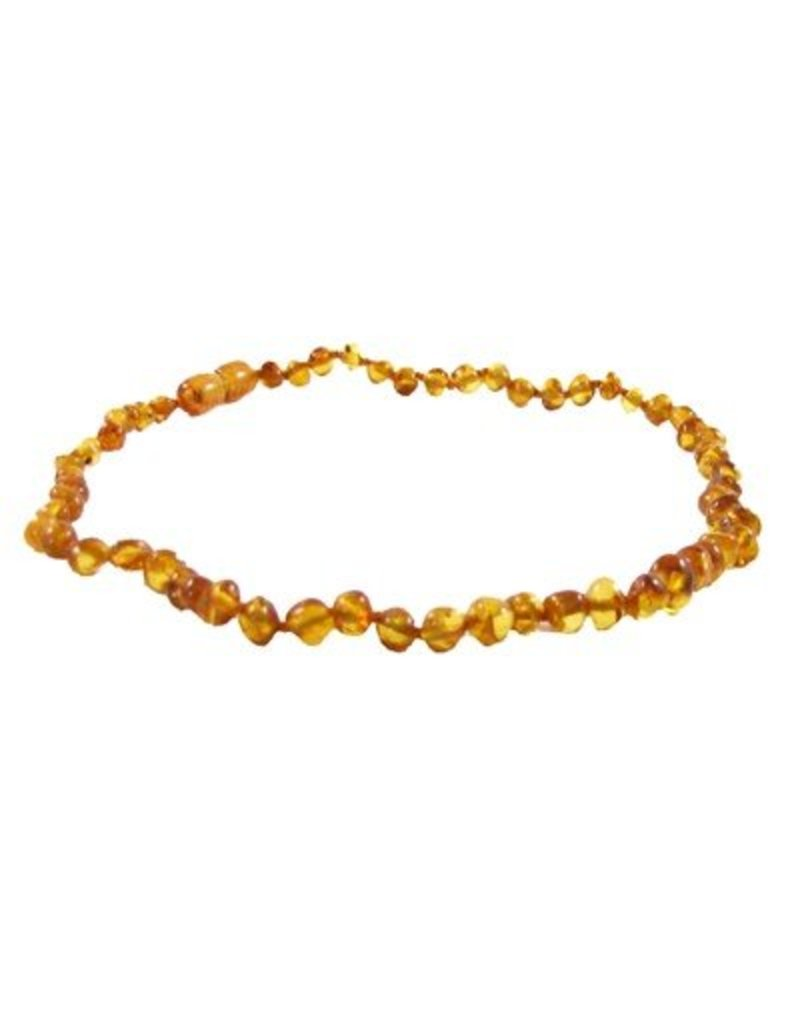 Amber Monkey Necklace Polished Honey Baroque 10-11 Inch