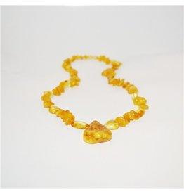 Amber Monkey Necklace Milk Lemon Pendant 17-18 Inch