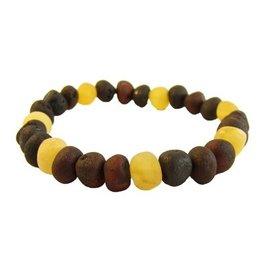 Amber Monkey Bracelet Raw Lemon Chestnut Trio Stretch 7-8 Inch